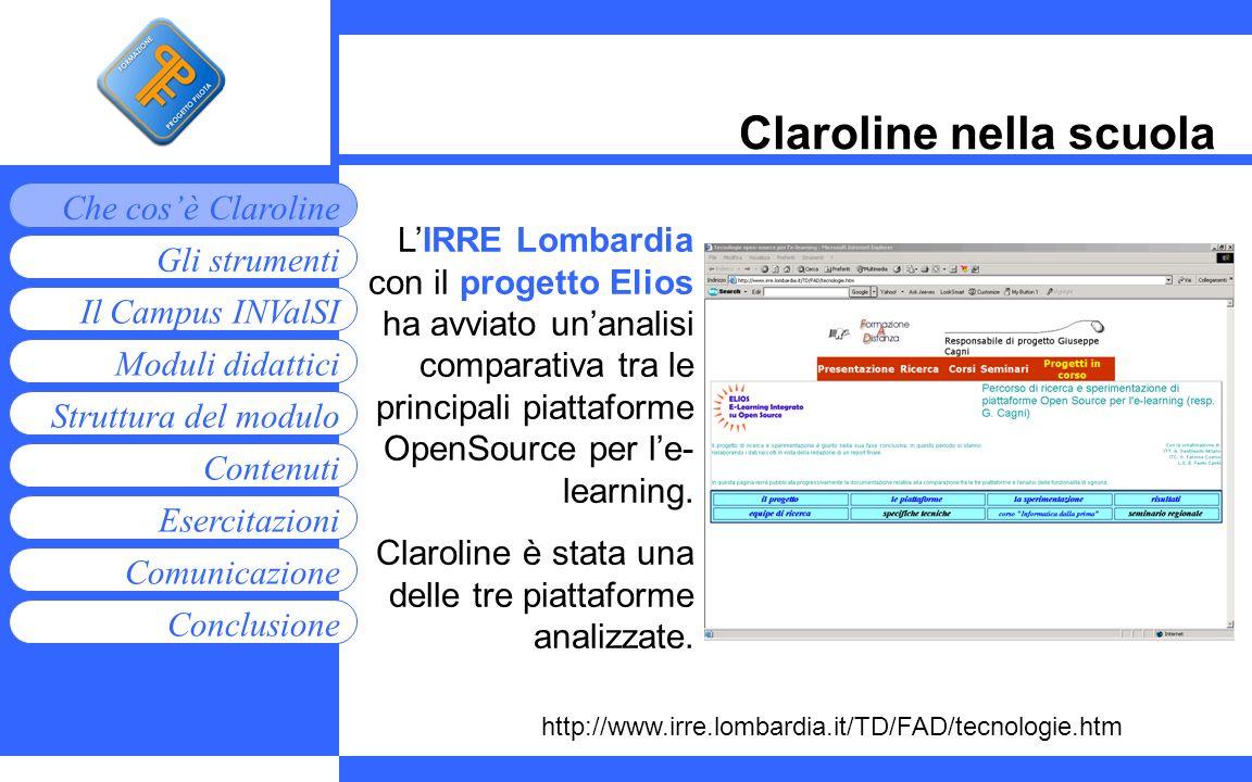 Moduli didattici Contenuti Esercitazioni Comunicazione Gli strumenti Che cosè Claroline Conclusione Struttura del modulo Il Campus INValSI Claroline n
