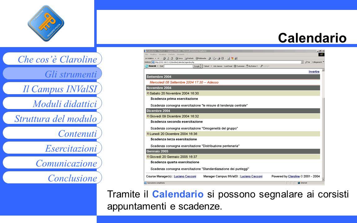 Moduli didattici Contenuti Esercitazioni Comunicazione Gli strumenti Che cosè Claroline Conclusione Struttura del modulo Il Campus INValSI Calendario