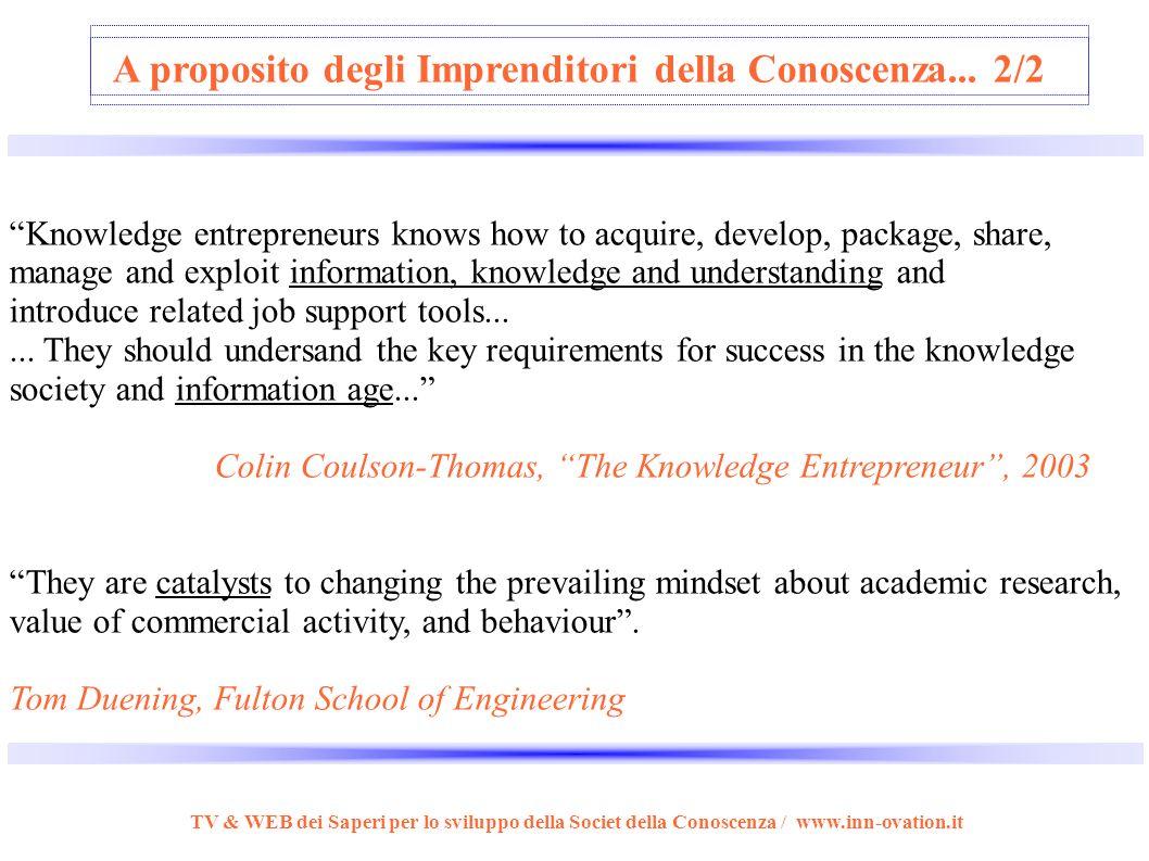 A proposito degli Imprenditori della Conoscenza... 1/2...creano e processano conoscenza... vedono i principali fattori produttivi nella creatività e c