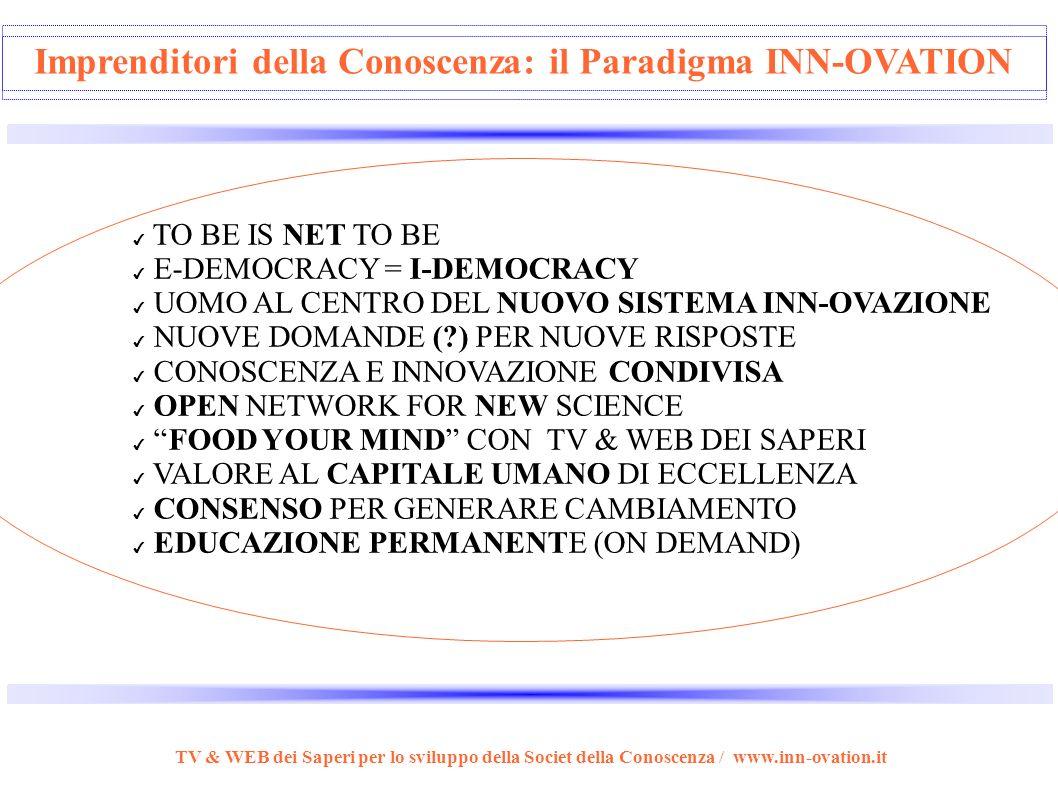 Imprenditore Industriale // Imprenditore della Conoscenza TV & WEB dei Saperi per lo sviluppo della Societ della Conoscenza / www.inn-ovation.it VS Ca