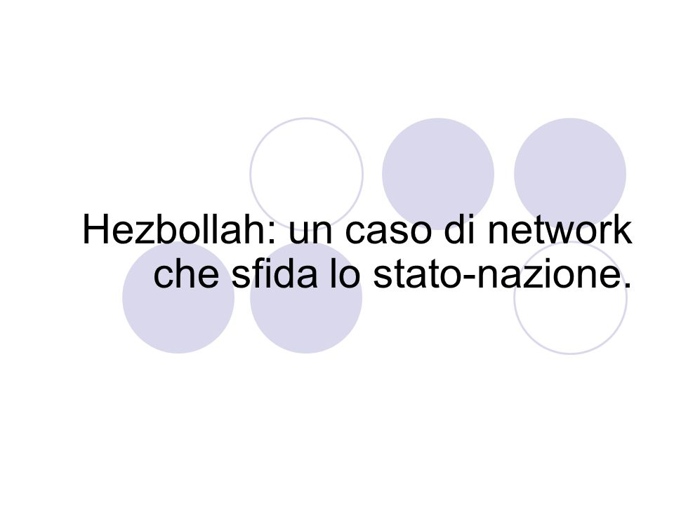 Hezbollah: un caso di network che sfida lo stato-nazione.