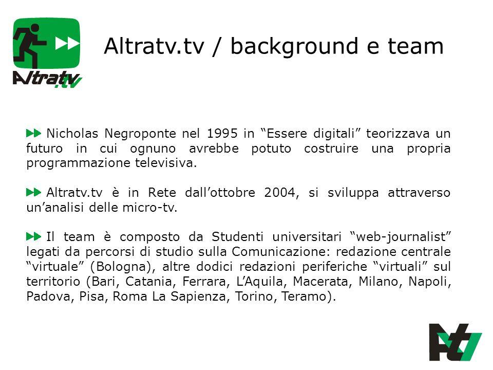 Altratv.tv / background e team Nicholas Negroponte nel 1995 in Essere digitali teorizzava un futuro in cui ognuno avrebbe potuto costruire una propria programmazione televisiva.