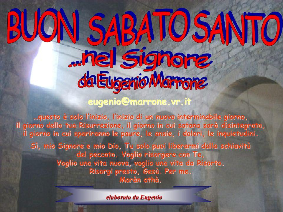 eugenio@marrone.vr.it …questo è solo linizio, linizio di un nuovo interminabile giorno, il giorno della tua Risurrezione, il giorno in cui satana sarà
