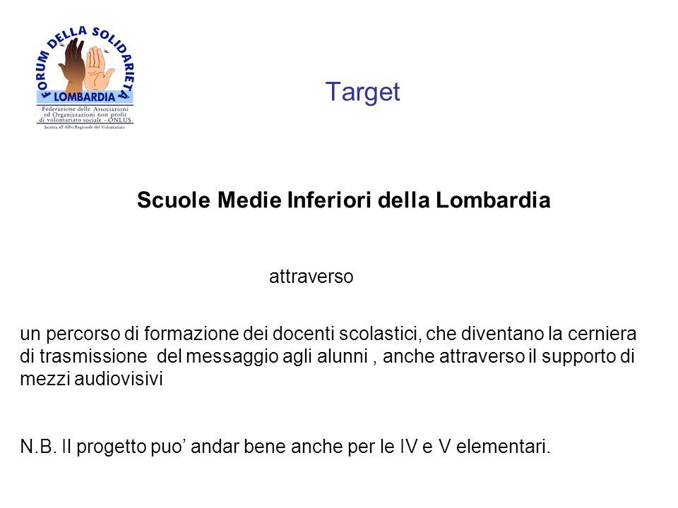 Target Scuole Medie Inferiori della Lombardia attraverso un percorso di formazione dei docenti scolastici, che diventano la cerniera di trasmissione d