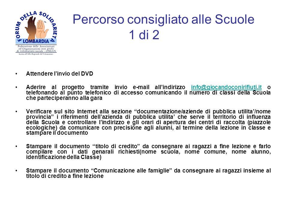 Percorso consigliato alle Scuole 1 di 2 Attendere linvio del DVD Aderire al progetto tramite invio e-mail allindirizzo info@giocandoconirifiuti.it o t