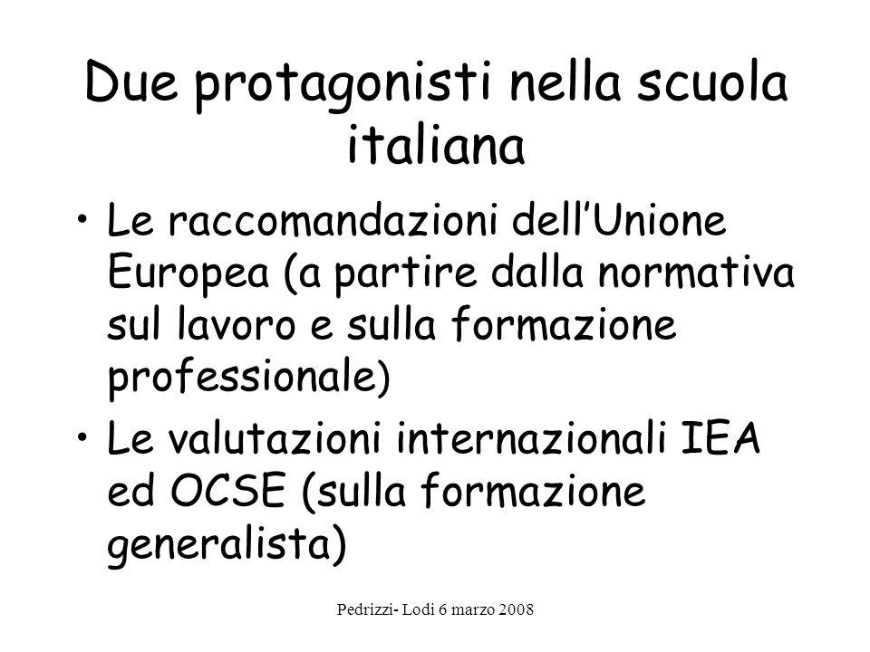 Pedrizzi- Lodi 6 marzo 2008 Due protagonisti nella scuola italiana Le raccomandazioni dellUnione Europea (a partire dalla normativa sul lavoro e sulla formazione professionale ) Le valutazioni internazionali IEA ed OCSE (sulla formazione generalista)