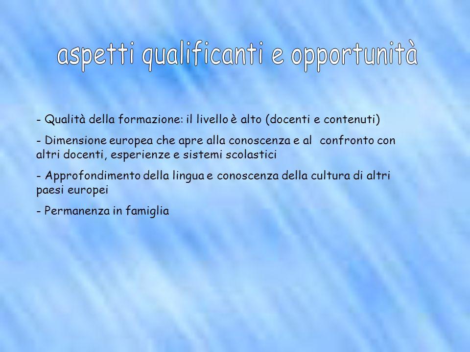 - Qualità della formazione: il livello è alto (docenti e contenuti) - Dimensione europea che apre alla conoscenza e al confronto con altri docenti, es