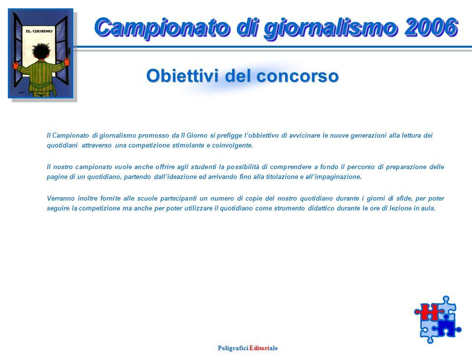 Campionato di giornalismo 2006 Poligrafici Editoriale Indice Obiettivi del concorso Regolamento e modalità Attività in opera Attività future Attività