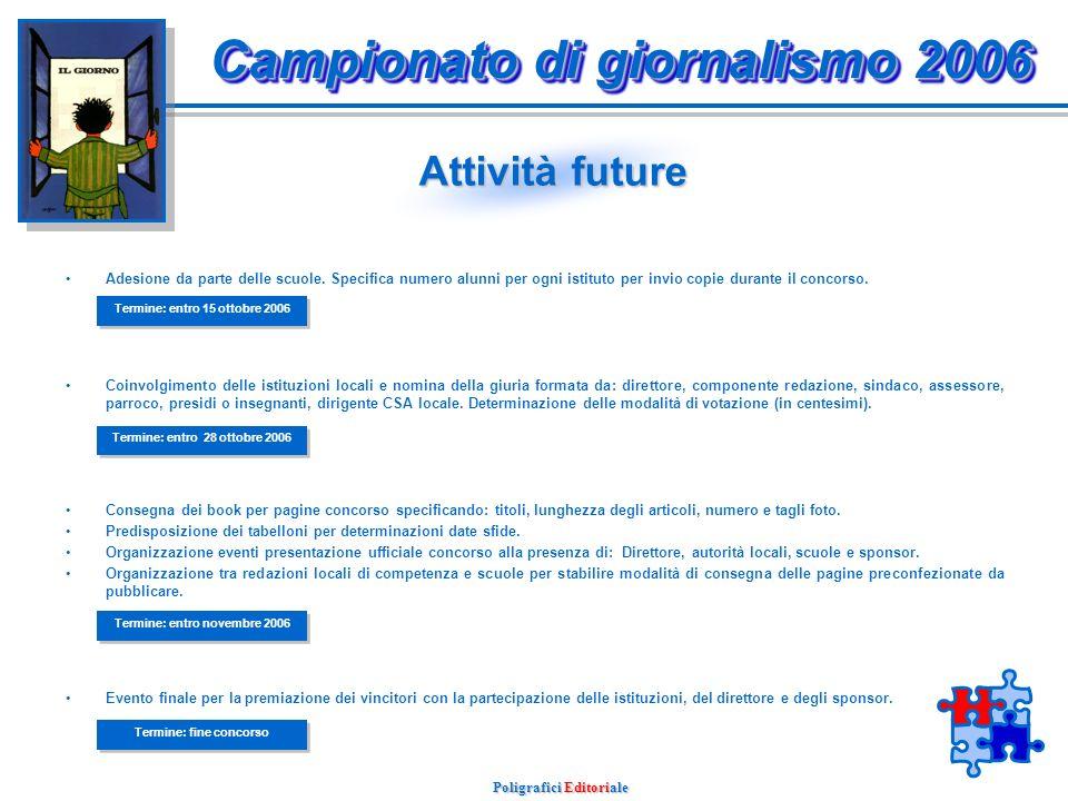 Poligrafici Editoriale Attività in opera Avvenuta selezione delle scuole medie lombarde per un totale di 760 istituti.