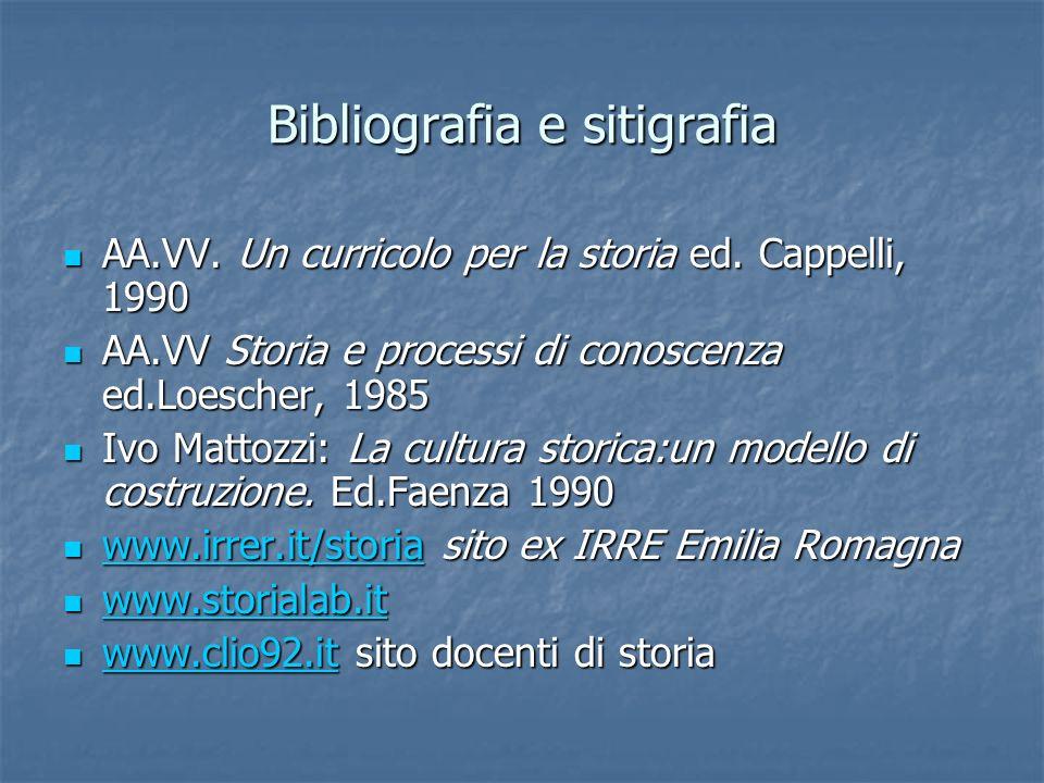 Bibliografia e sitigrafia AA.VV. Un curricolo per la storia ed. Cappelli, 1990 AA.VV. Un curricolo per la storia ed. Cappelli, 1990 AA.VV Storia e pro