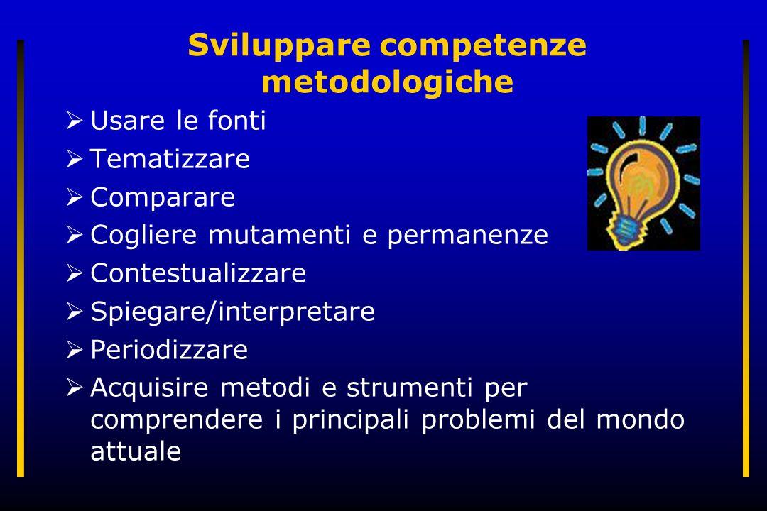 Sviluppare competenze metodologiche Usare le fonti Tematizzare Comparare Cogliere mutamenti e permanenze Contestualizzare Spiegare/interpretare Period