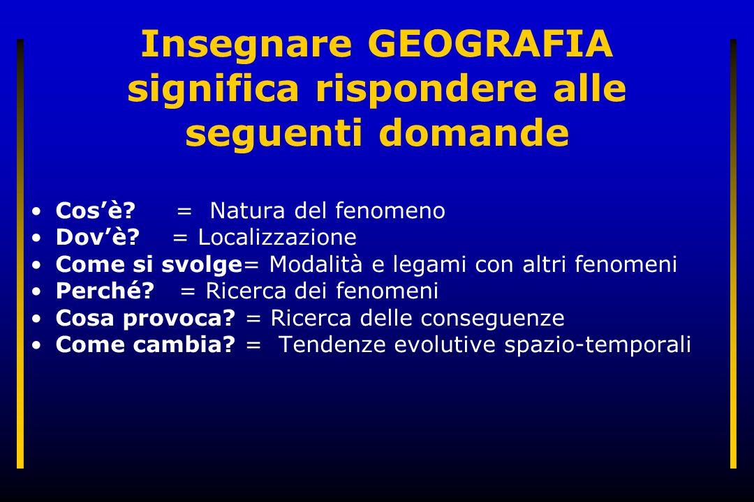Insegnare GEOGRAFIA significa rispondere alle seguenti domande Cosè? = Natura del fenomeno Dovè? = Localizzazione Come si svolge= Modalità e legami co