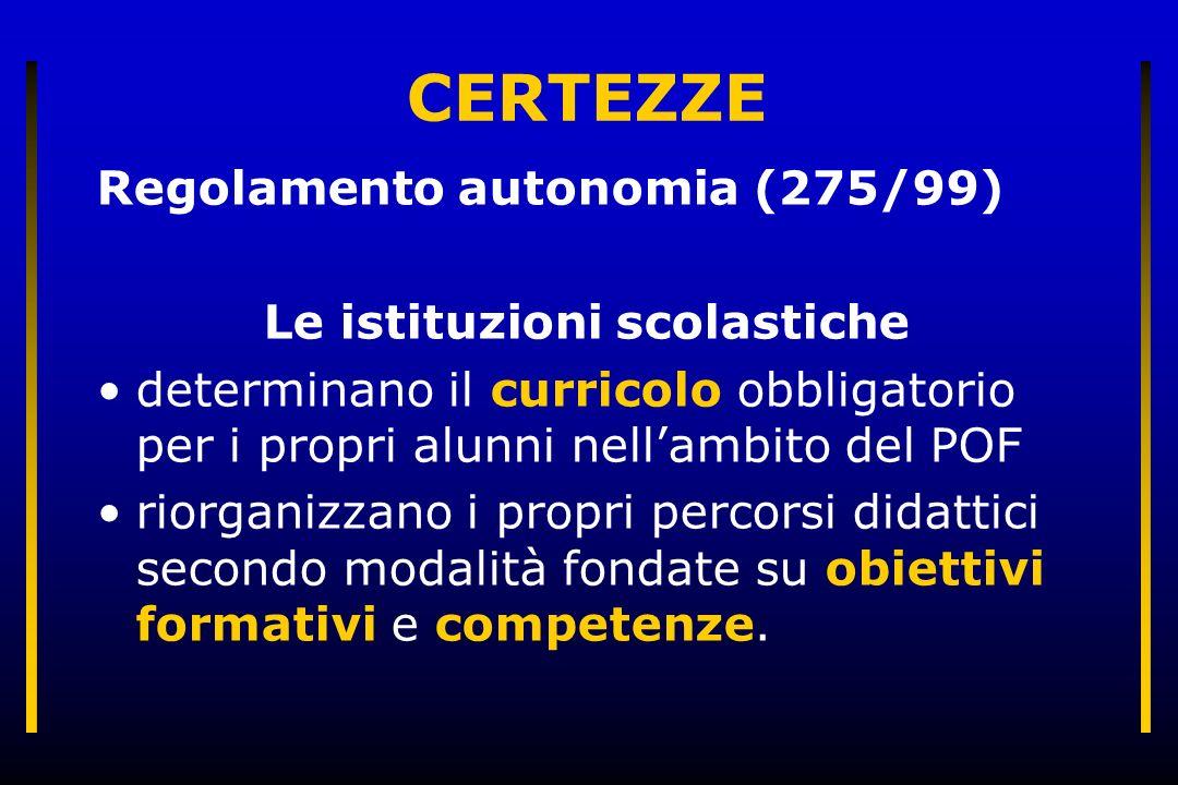 CERTEZZE Regolamento autonomia (275/99) Le istituzioni scolastiche determinano il curricolo obbligatorio per i propri alunni nellambito del POF riorganizzano i propri percorsi didattici secondo modalità fondate su obiettivi formativi e competenze.