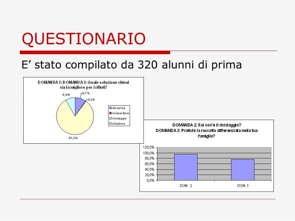 QUESTIONARIO E stato compilato da 320 alunni di prima