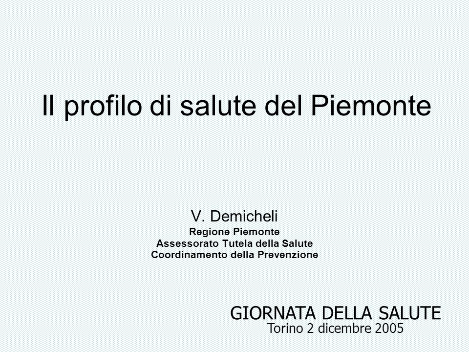 Il profilo di salute del Piemonte V. Demicheli Regione Piemonte Assessorato Tutela della Salute Coordinamento della Prevenzione GIORNATA DELLA SALUTE