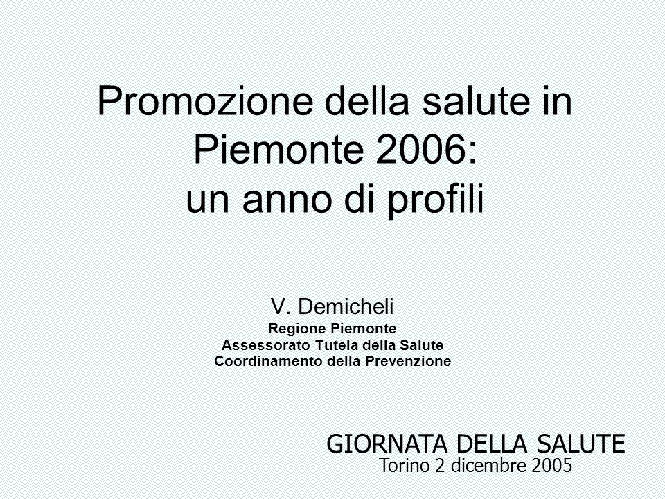 Promozione della salute in Piemonte 2006: un anno di profili V. Demicheli Regione Piemonte Assessorato Tutela della Salute Coordinamento della Prevenz