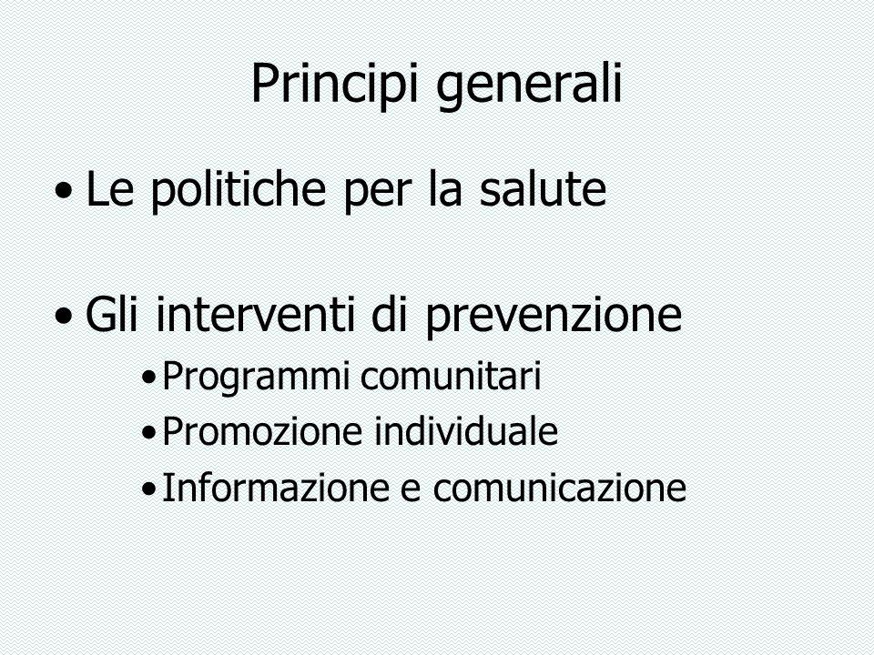 Principi generali Le politiche per la salute Gli interventi di prevenzione Programmi comunitari Promozione individuale Informazione e comunicazione