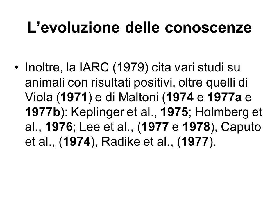 Levoluzione delle conoscenze Inoltre, la IARC (1979) cita vari studi su animali con risultati positivi, oltre quelli di Viola (1971) e di Maltoni (197