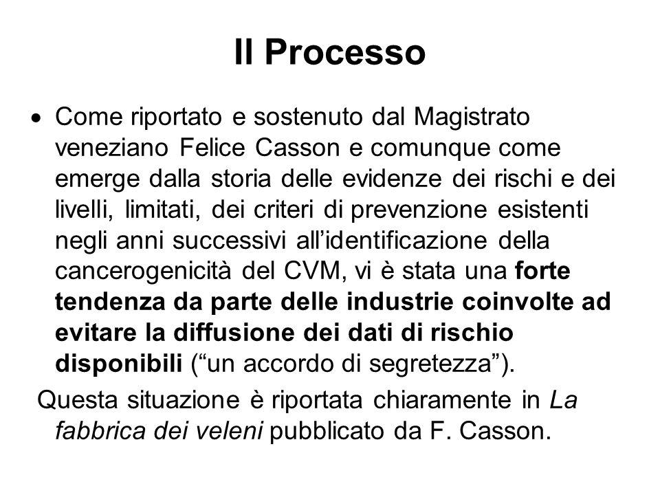 Il Processo Come riportato e sostenuto dal Magistrato veneziano Felice Casson e comunque come emerge dalla storia delle evidenze dei rischi e dei live