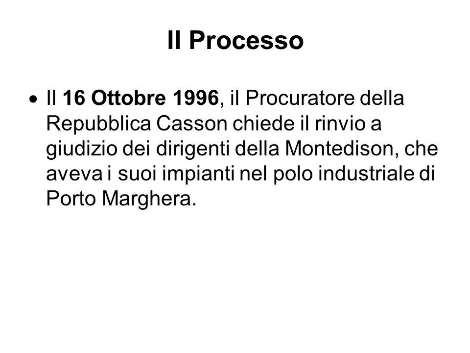 Il Processo Il 16 Ottobre 1996, il Procuratore della Repubblica Casson chiede il rinvio a giudizio dei dirigenti della Montedison, che aveva i suoi im