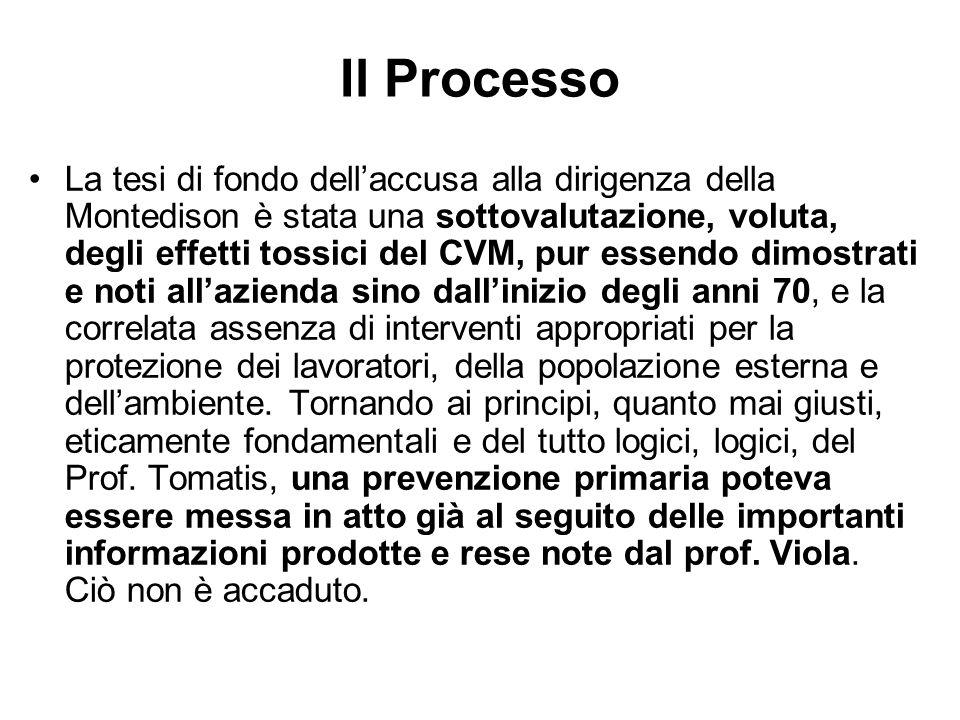 Il Processo La tesi di fondo dellaccusa alla dirigenza della Montedison è stata una sottovalutazione, voluta, degli effetti tossici del CVM, pur essen