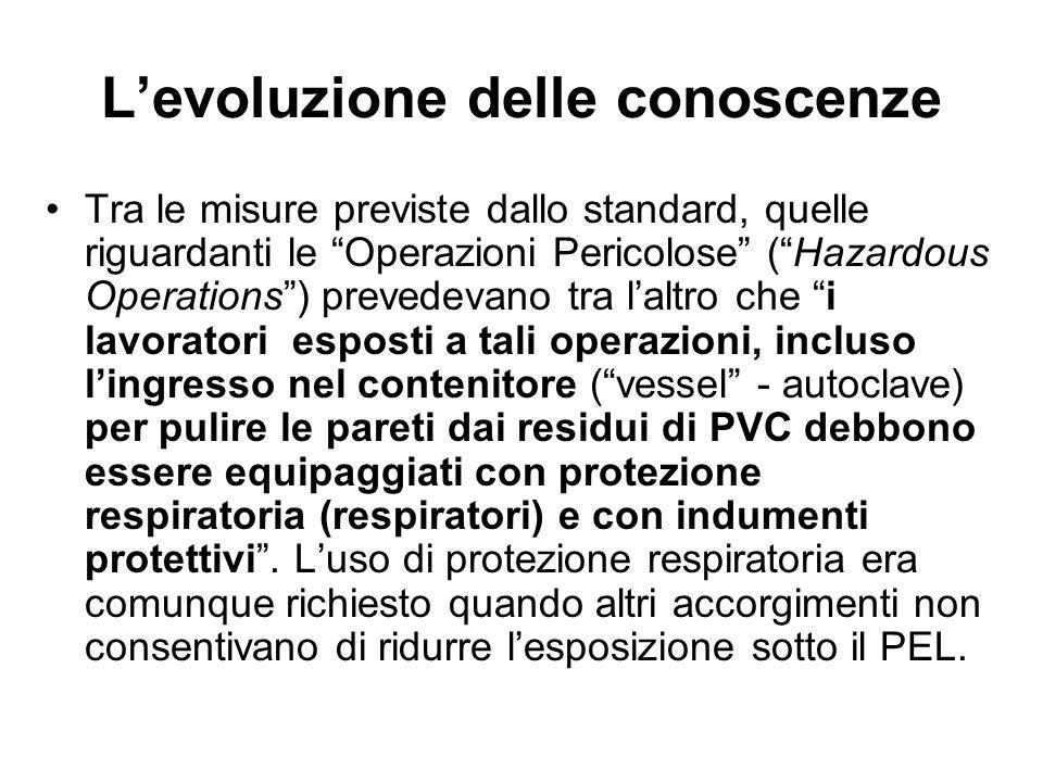 Levoluzione delle conoscenze Tra le misure previste dallo standard, quelle riguardanti le Operazioni Pericolose (Hazardous Operations) prevedevano tra