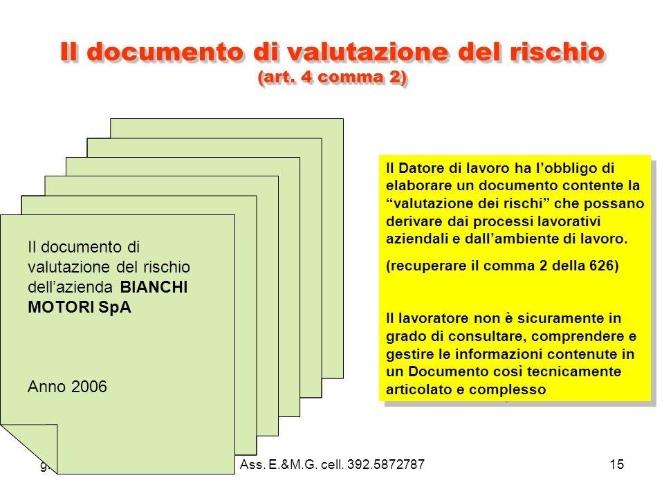 giamar5@tin.itAss. E.&M.G. cell. 392.587278715 Il documento di valutazione del rischio (art.