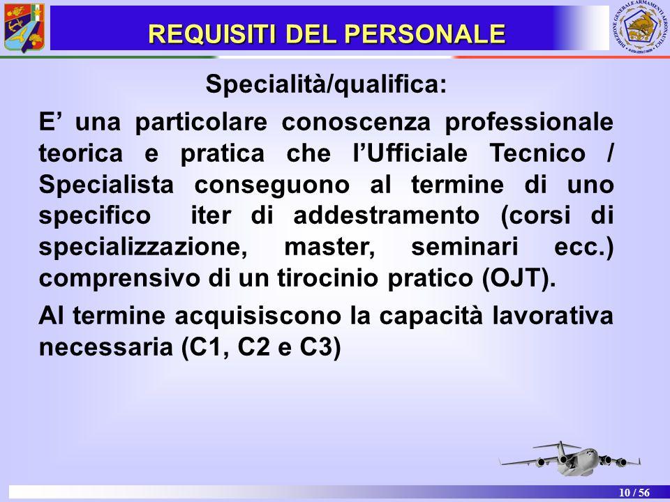 10 / 56 Specialità/qualifica: E una particolare conoscenza professionale teorica e pratica che lUfficiale Tecnico / Specialista conseguono al termine