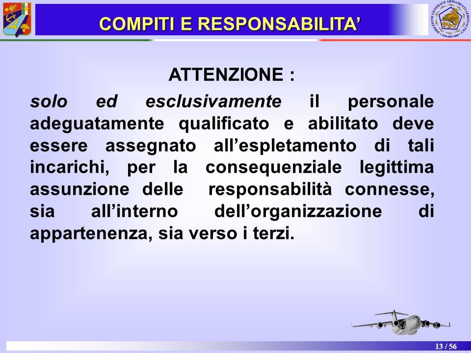 13 / 56 ATTENZIONE : solo ed esclusivamente il personale adeguatamente qualificato e abilitato deve essere assegnato allespletamento di tali incarichi