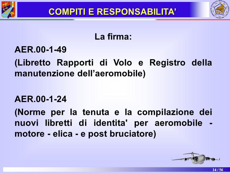 14 / 56 La firma: AER.00-1-49 (Libretto Rapporti di Volo e Registro della manutenzione dellaeromobile) AER.00-1-24 (Norme per la tenuta e la compilazi