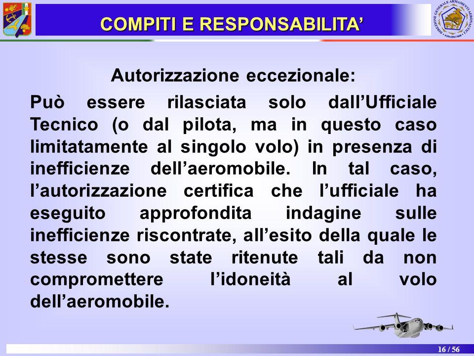 16 / 56 Autorizzazione eccezionale: Può essere rilasciata solo dallUfficiale Tecnico (o dal pilota, ma in questo caso limitatamente al singolo volo) i