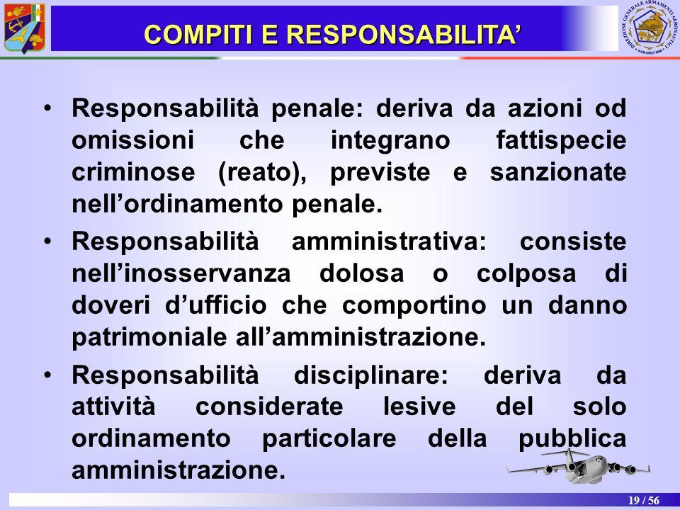 19 / 56 Responsabilità penale: deriva da azioni od omissioni che integrano fattispecie criminose (reato), previste e sanzionate nellordinamento penale