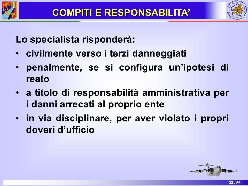 22 / 56 Lo specialista risponderà: civilmente verso i terzi danneggiati penalmente, se si configura unipotesi di reato a titolo di responsabilità ammi