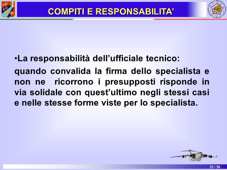 23 / 56 La responsabilità dellufficiale tecnico: quando convalida la firma dello specialista e non ne ricorrono i presupposti risponde in via solidale