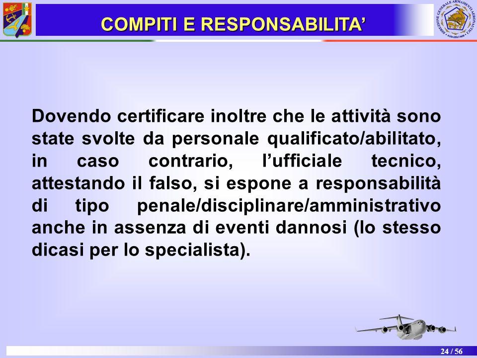 24 / 56 Dovendo certificare inoltre che le attività sono state svolte da personale qualificato/abilitato, in caso contrario, lufficiale tecnico, attes