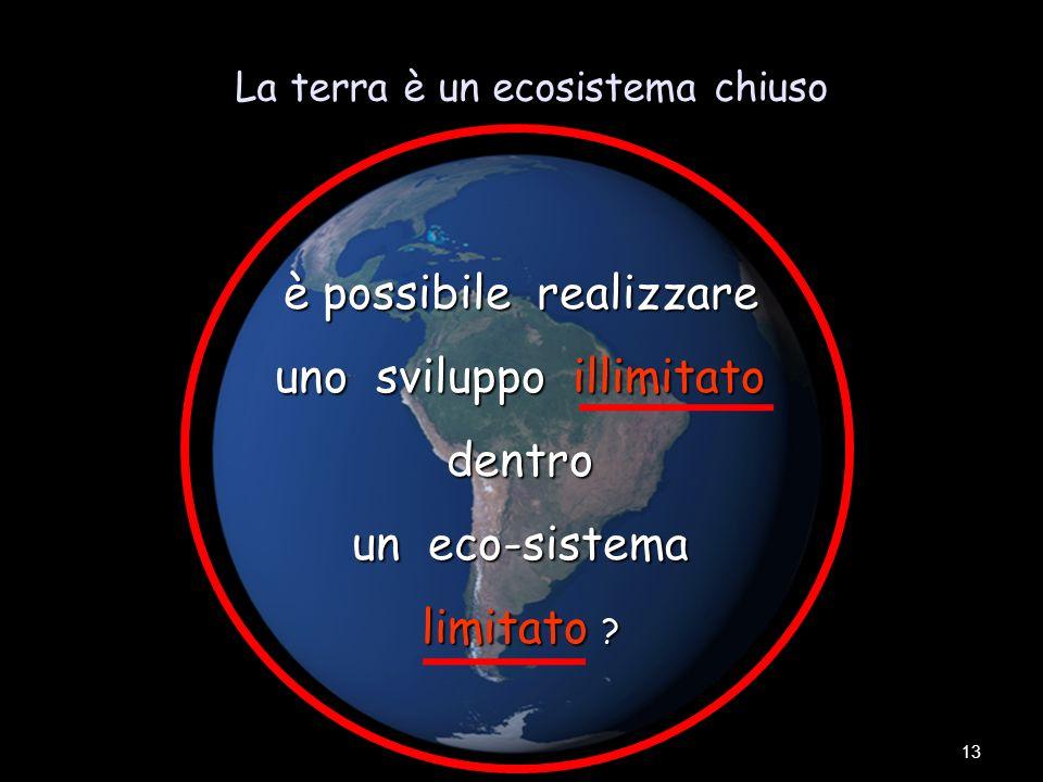 La terra è un ecosistema chiuso 13 è possibile realizzare uno sviluppo illimitato dentro un eco-sistema limitato