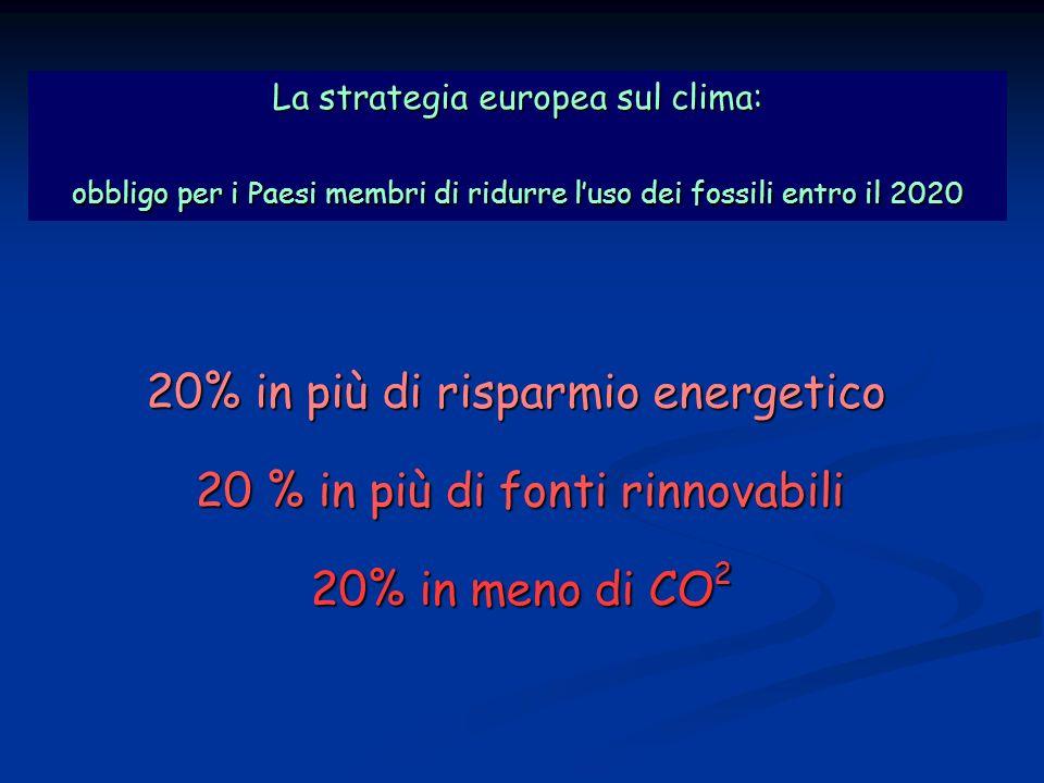 Strategia europea La strategia europea sul clima: obbligo per i Paesi membri di ridurre luso dei fossili entro il 2020 20 % in più di fonti rinnovabili 20% in più di risparmio energetico 20% in meno di CO 2