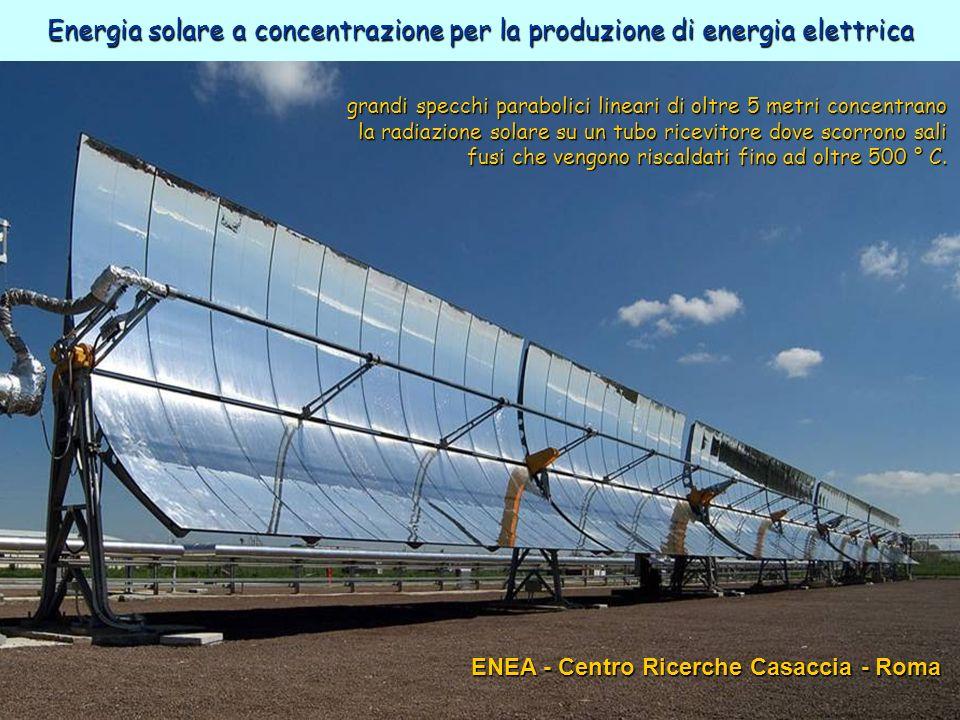 44ENEA - educarsi al futuro ENEA - Centro Ricerche Casaccia - Roma grandi specchi parabolici lineari di oltre 5 metri concentrano la radiazione solare su un tubo ricevitore dove scorrono sali fusi che vengono riscaldati fino ad oltre 500 ° C.
