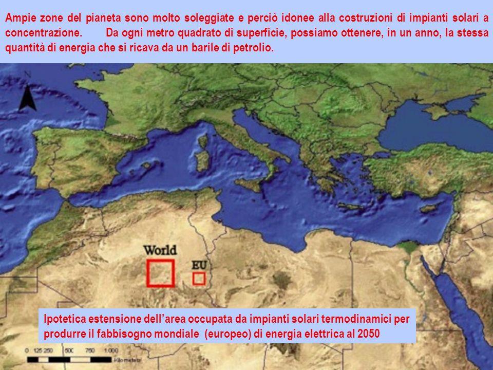 Ampie zone del pianeta sono molto soleggiate e perciò idonee alla costruzioni di impianti solari a concentrazione.