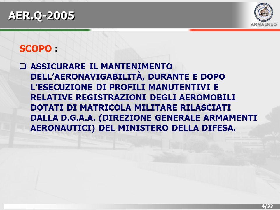 ARMAEREO 5/22 APPLICABILITÀ : LA NORMA DEFINISCE GLI ASPETTI DI ORDINE GENERALE, TECNICI E/O AMMINISTRATIVI DA OSSERVARE, IN MATERIA DI MANUTENZIONE, DA PARTE DI UNA ORGANIZZAZIONE MILITARE E/O APPARTENENTE A CORPI DELLO STATO, AVENTE IN CARICO AEROMOBILI ISCRITTI NEL REGISTRO DEGLI AEROMOBILI MILITARI (RAM) TENUTO A MENTE DELLART.