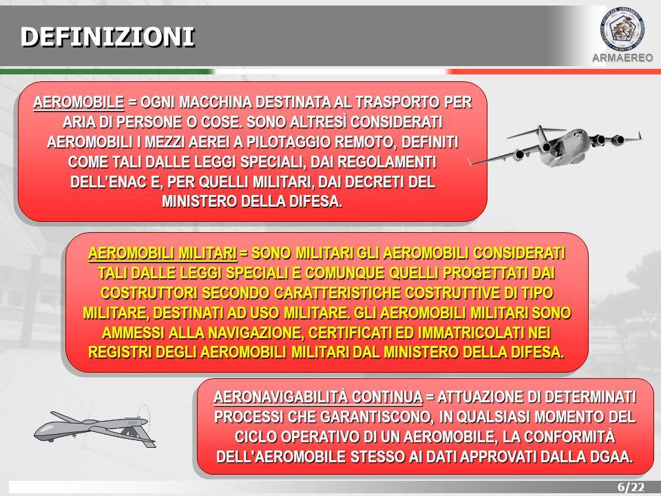 ARMAEREO 7/22 DEFINIZIONI ENTE DI MANUTENZIONE = INSIEME DELLE RISORSE DEDICATE ALLEFFETTUAZIONE DELLE ATTIVITÀ MANUTENTIVE SU DI AEROMOBILI MILITARI DELLO STESSO TIPO.