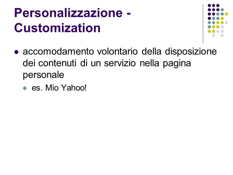 Personalizzazione - Customization accomodamento volontario della disposizione dei contenuti di un servizio nella pagina personale es. Mio Yahoo!
