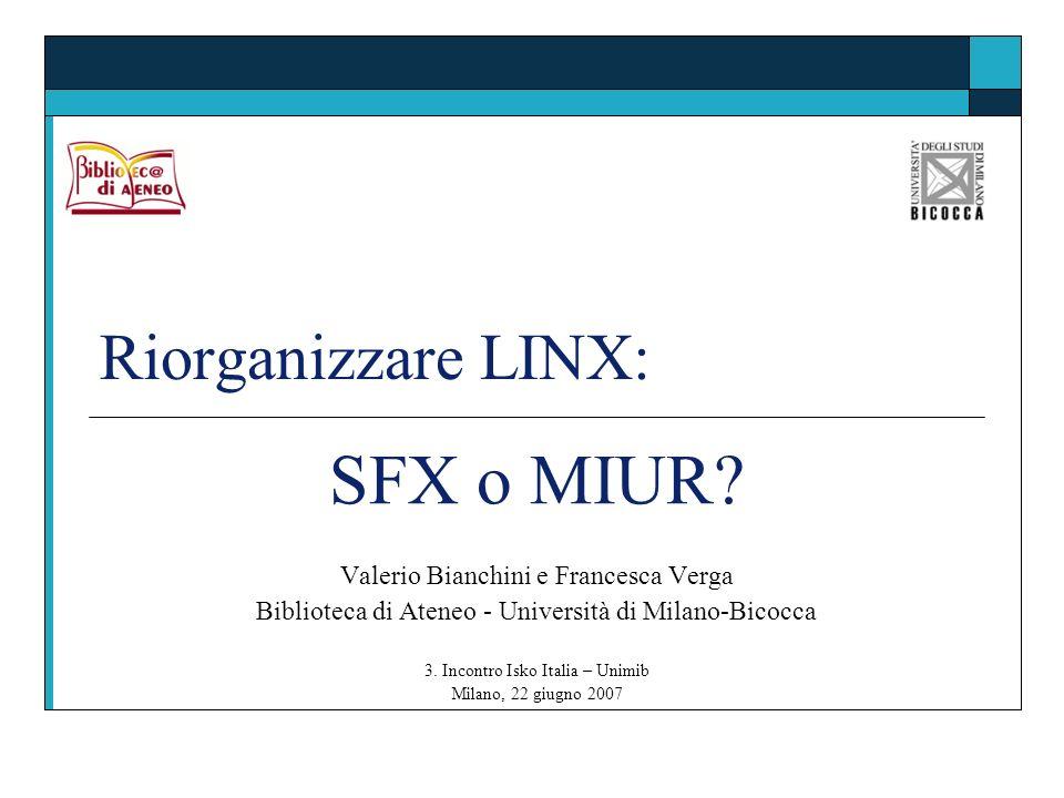Riorganizzare LINX: SFX o MIUR? Valerio Bianchini e Francesca Verga Biblioteca di Ateneo - Università di Milano-Bicocca 3. Incontro Isko Italia – Unim