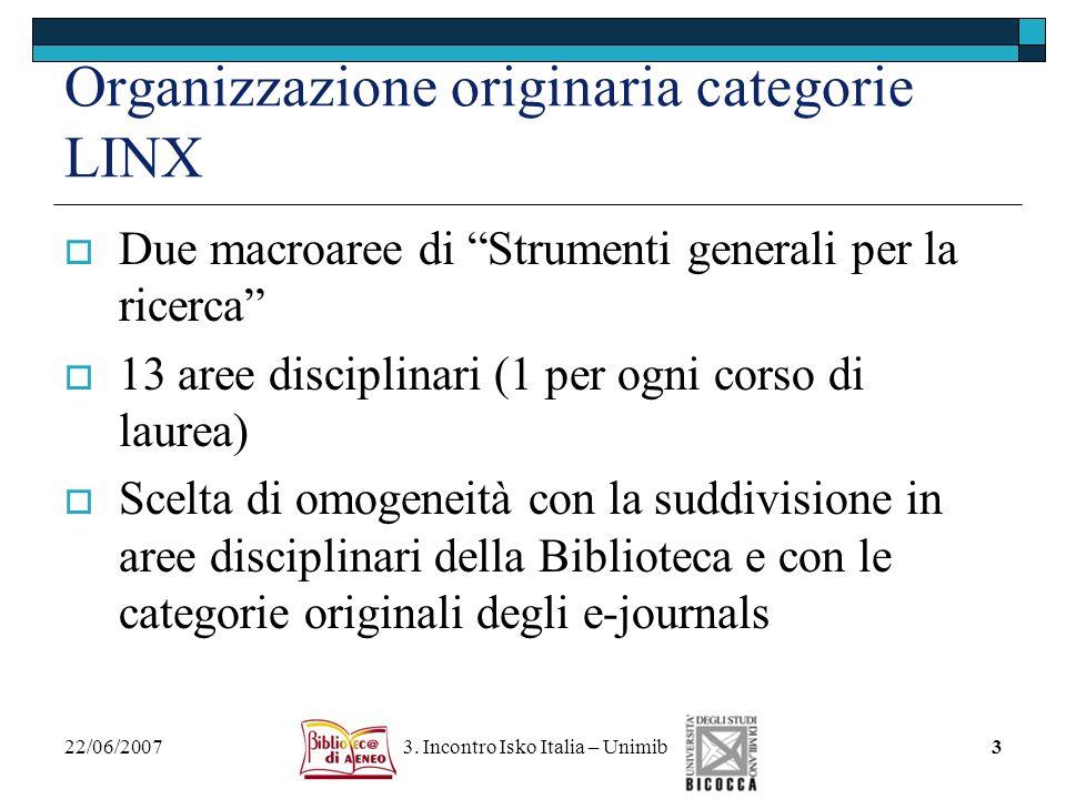 22/06/2007 3. Incontro Isko Italia – Unimib3 Organizzazione originaria categorie LINX Due macroaree di Strumenti generali per la ricerca 13 aree disci