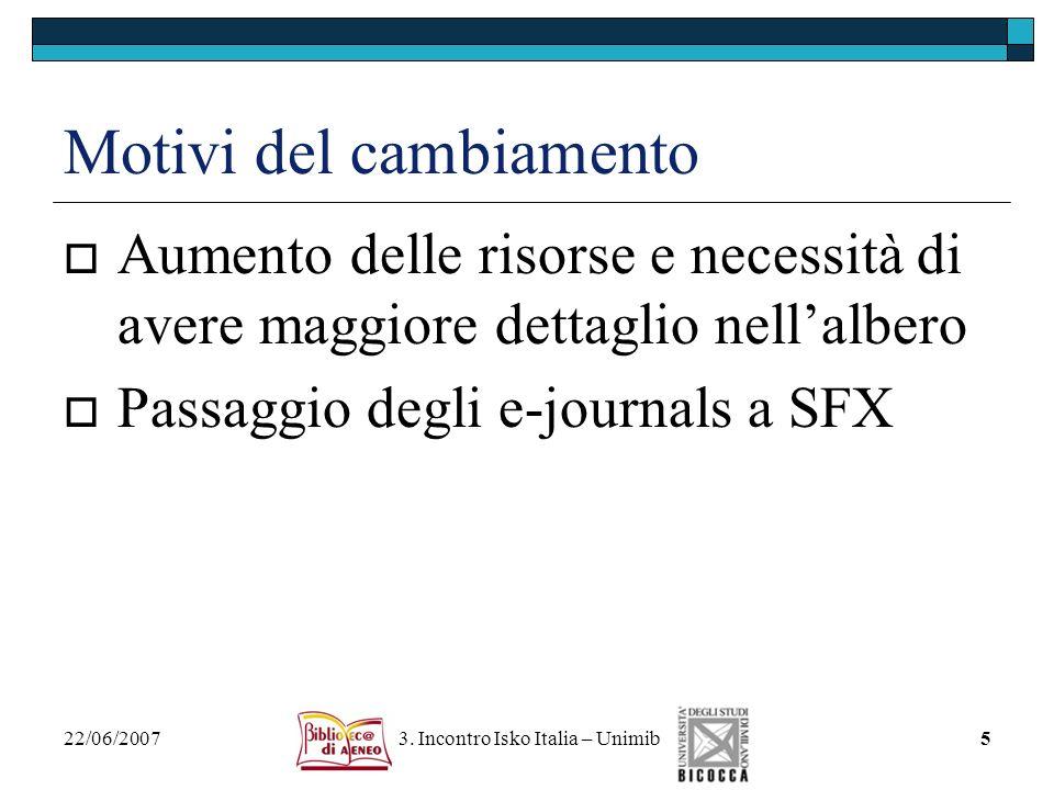 22/06/2007 3. Incontro Isko Italia – Unimib5 Motivi del cambiamento Aumento delle risorse e necessità di avere maggiore dettaglio nellalbero Passaggio