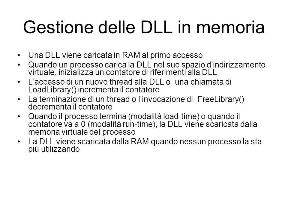 Gestione delle DLL in memoria Una DLL viene caricata in RAM al primo accesso Quando un processo carica la DLL nel suo spazio dindirizzamento virtuale,
