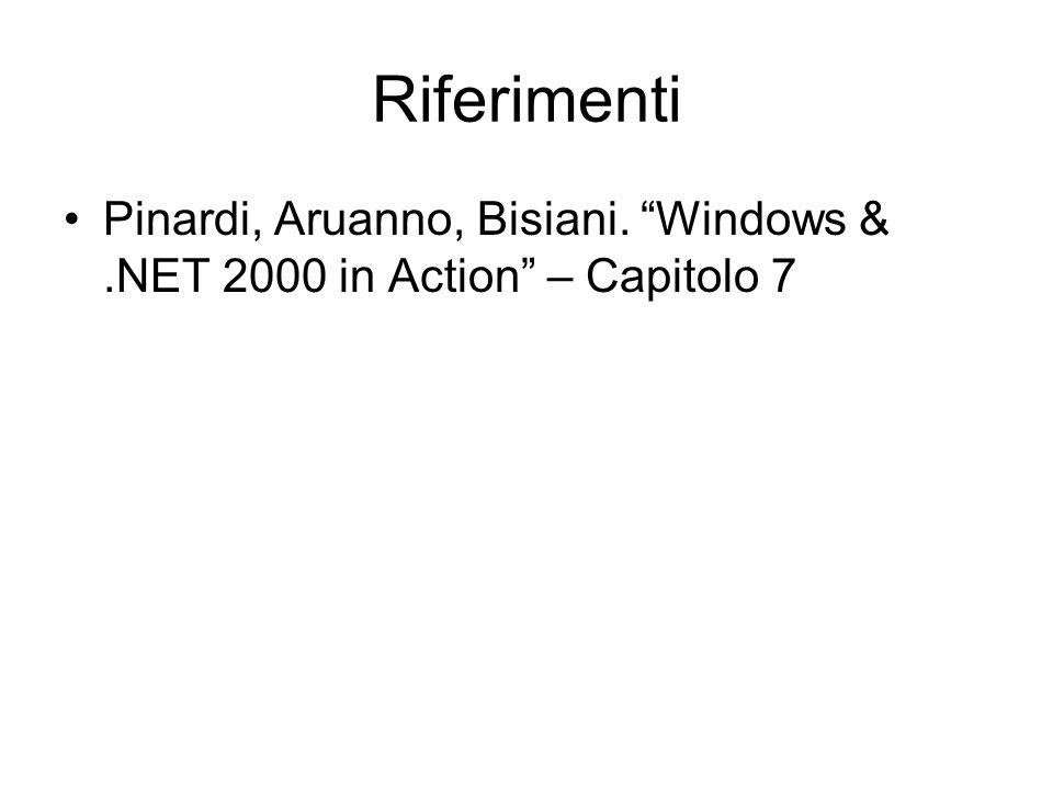 Riferimenti Pinardi, Aruanno, Bisiani. Windows &.NET 2000 in Action – Capitolo 7