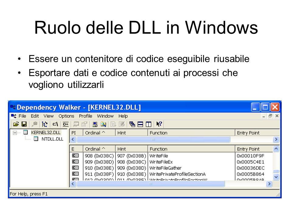 Ruolo delle DLL in Windows Essere un contenitore di codice eseguibile riusabile Esportare dati e codice contenuti ai processi che vogliono utilizzarli