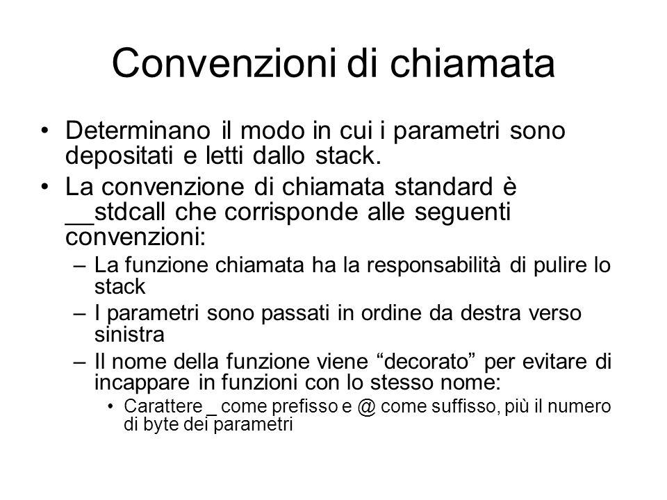 Convenzioni di chiamata Determinano il modo in cui i parametri sono depositati e letti dallo stack. La convenzione di chiamata standard è __stdcall ch
