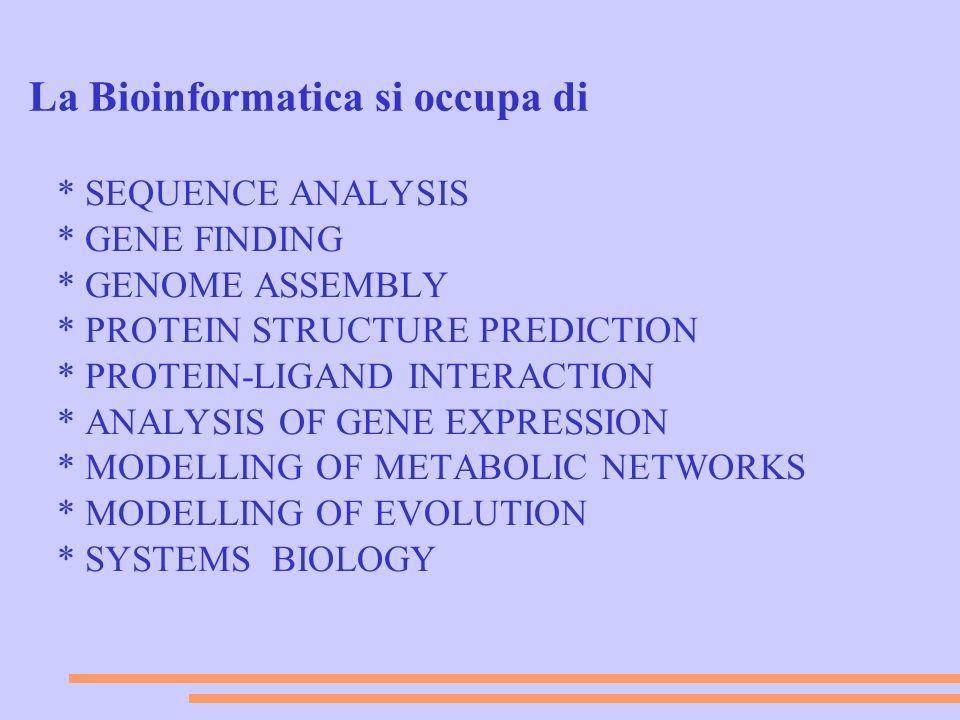 Nei primi anni della bioinformatica i temi di studio erano essenzialmente quelli in 1-4 (analisi di sequenze) Gli sviluppi successivi e le espansioni della bioinformatica a settori diversificati sono dovuti essenzialmente ai seguenti fattori